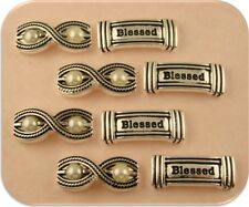 "2 Hole Beads Engraved ""Blessed"" & White Faux Pearl Rope Twist Bars Sliders QTY 8"