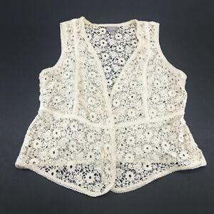 J Jill Womens Floral Sleeveless Lace Knit Vest Size Small Petite