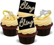 12 Novelty VANILLA STAND UPS Bling 2 Ring Female Mix Edible Wafer Cake Topper