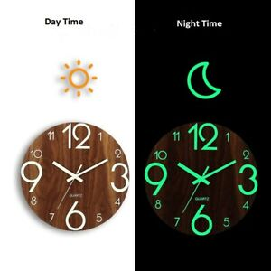 "12"" Wall Clock Wooden Dark Night Glow Silent Quartz Indoor Home Room Decoration"