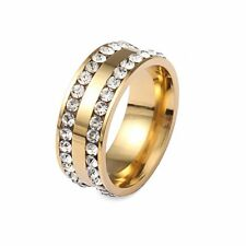 Stainless Steel Wedding Ring Double Row Crystal Stone Ring For Women Jewelry c