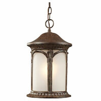 Weathered Bronze And White Seedy Glass Exterior Hanging Light Fixture 11 x 8.75""