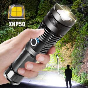 LED Taschenlampe 10000 Lumen 5 Modi XHP50 Zoom Torch USB Aufladbare Super Hell