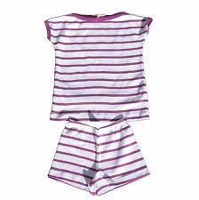 PETIT BATEAU Schlafanzug Pyjacourt Pyjama gestreift lila weiß Gr. 2a 86  NEU