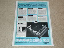 Garrard Turntable Ad, Zero 100, reviews, 1 pg, 1972, Rare Advertisement
