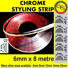 6mm x 8m CHROME DECORATION DOOR STRIP EDGING FORD FIESTA KA MONDEO FUSION