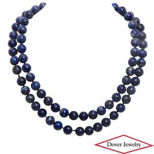 "Estate Lapis Lazuli 14K Gold 35.5"" Long Strand Beaded Necklace 132.1 Grams NR"