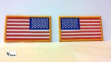 US USA American Flag patch LOT of 2 LEFT & RIGHT GOLD BORDER