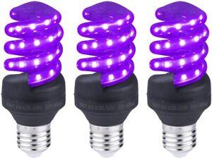 UV Light Bulbs 8w Spiral LED Black Lights Bulb 15-watt Equivalent Cfl E26 Base