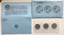 USA 1980 P D S Susan B. Anthony Dollar Set alle 3 eingeschweißt in Umschlag #T1
