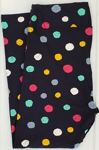 TC2 LuLaRoe Tall & Curvy2 Leggings Green Pink White Blue Dots on Black NWT G36