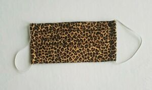 Handmade Pleated Face Mask Leopard Print Unisex Reversible Washable Reusable