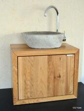 SONDERPREIS WASCHTISCH FLUßSTEIN NATURSTEIN WASCHBECKEN EICHE MASSIV HOLZ BAD WC
