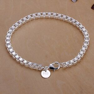 Silver Plated 4mm Box Links Chain Bracelet Bangle 925 Sterling  Anklet 20cm 8 in