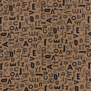 Elementary Fabric by Sweetwater Alphabet Letters On Tan Moda Premium Cotton