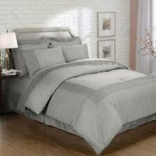 Chezmoi Collection Mason 8-Piece Solid Pleated Hem Bed-In-A-Bag Comforter Set Wi