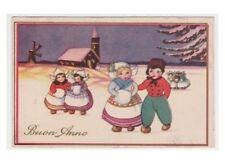 1933 Augurali cartolina vintage bambini olandesi chiesa mulino a vento pipa