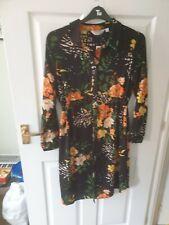 NEW Dorothy Perkins black floral shirt dress size 14