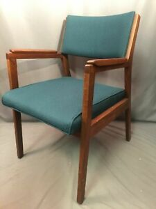 Alma Desk Company Vintage Mid Century Modern Oak Upholstered Chair Made In USA