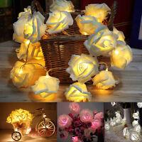 20 Led Rose Flower Fairy Light Wedding Party Xmas String Battery Bedroom Garden|