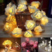 20LED String Rose Flower Fairy Lights Indoor Christmas Party Bedroom Lounge JX