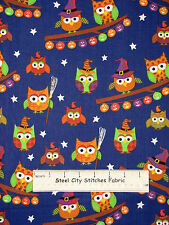 Halloween Owl Pumpkin Toss Fabric 100% Cotton By The Yard Trick Or Treat Royal