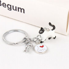 I Love white cats and Fish Bone Pendant Metal Purse Bag Key Ring Accesories Gift