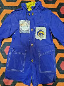 Vintage kids Blue Los Angeles Rams Waterproof Vinyl Rain Jacket Small