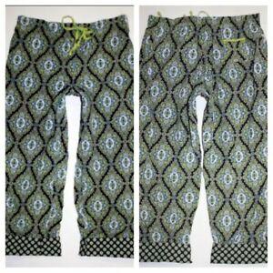 Vera Bradley XS Lounge Pants Capris Corduroy Green Cambridge Paisley EUC