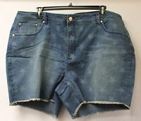 "NEW FADED GLORY WOMENS PLUS SIZE 26W 26 STAR STARS DENIM 5.5"" JEAN SHORTS SHORT"