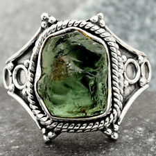 Green Apatite Rough Madagascar 925 Sterling Silver Ring s.7.5 Jewelry 5161