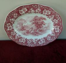 "WEDGWOOD WOODLAND 12"" OVAL SERVING PLATTER PINK /RED? ENGLAND (14"" PLATTER AVAIL"