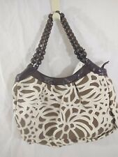 Handbag Purse Woman's Amici Brown Contemporary Leather Like Accents Bead Handles