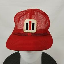 Swingser International Harvester Red Full Mesh Snapback Trucker Hat Stained Farm