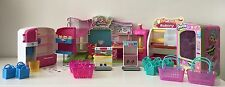 LOT of Shopkins Playsets Mart Fridge Bakery Vending Machine Storage Displays