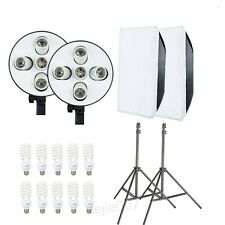 2 Head Studio Continuous Lighting 10X45W Bulbs 50*70cm Softboxes Stands Kit