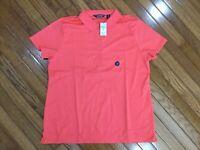 NWT Lands End Women's Light Watermelon Soft Pima Polo Shirt Blouse Top Size XL