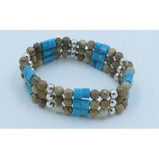 Triple Stack .925 Sterling Silver Natural Blue Turquoise Jasper Stretch Bracelet
