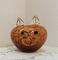 Vintage Art Glass Pig Bowl Amber Swirl Candy Dish Bowl / Planter