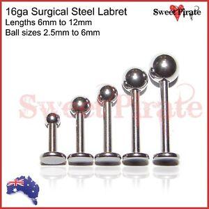 1pc Surgical Steel Labret 16ga Body Piercing Bar Lip Tongue Ear Body Jewellery