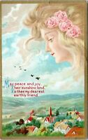 Art Nouveau Woman Flowing Hair Greetings Embossed 1910 Postcard