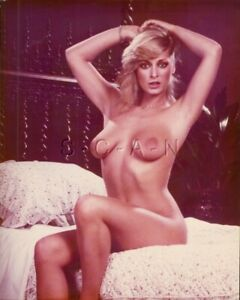 Original Nude Large (8 x 10) 1970s-80s Color Photo- Endowed Blond Sits on Bed