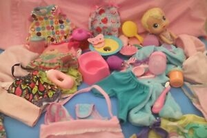 2 Hasbro Baby Alive Baby Doll Dresses Tops Clothes Accessories Mattel Lot Two