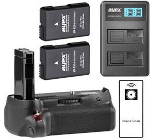 ayex Akkugriff für Nikon D5500, D5600 m. Fernauslöser, USB -Ladegerät u. 2 Akkus