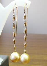 GOLD SOUTH SEA 12.2mm!! PEARLS 100% UNTREATED +18ct SOLID Y GOLD EARRINGS +CERT
