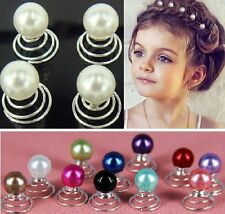 Set 10 Curlies Haarspiralen Perlen Hochzeit Kommunion Haarnadeln Haarschmuck NEU