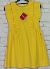 HANNA ANDERSSON GIRL'S size 8 YELLOW NWT RUFFLED COTTON SPANDEX PULLOVER DRESS