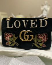 "Gucci Marmont Medium ""Loved"" Black Chevron Velvet Shoulder Bag Retails $2900"