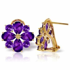 Genuine Amethyst Gems Flower Design Studs 14K Yellow Gold Earrings (4.85 ct