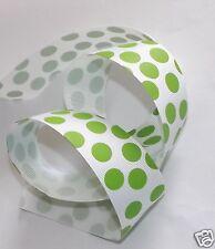 "1.5"" White Apple Green Jumbo Dots Ribbon, Hairbows, Clothing Scrapbooking Crafts"